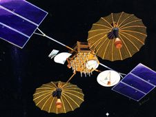 Artist concept of first TDRS satellite<br /> Credit: NASA<br /> <a href='http://www.nasa.gov/images/content/739328main_tdrs1-189-3565.jpg' class='bbc_url' title='External link' rel='nofollow external'>� Larger image</a>