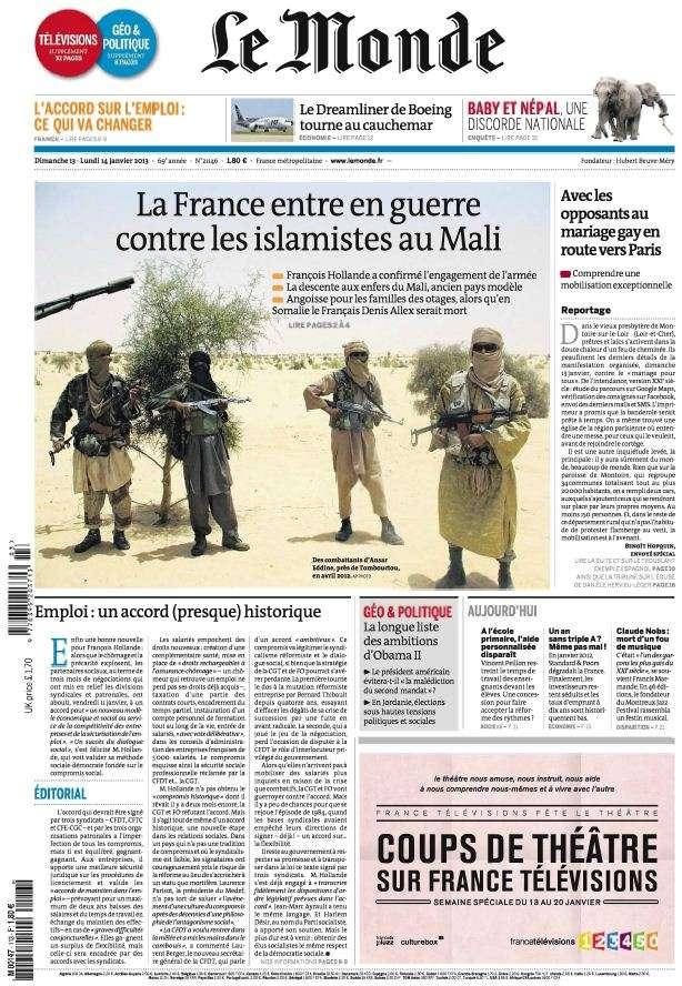 Le Monde et Suppléments du Dimanche 13 et Lundi 14 Janvier 2013