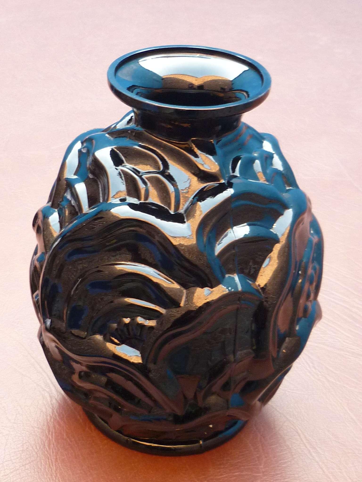 vase art deco en verre noir moule des verreries de scailmont catteau r f 1f ebay. Black Bedroom Furniture Sets. Home Design Ideas
